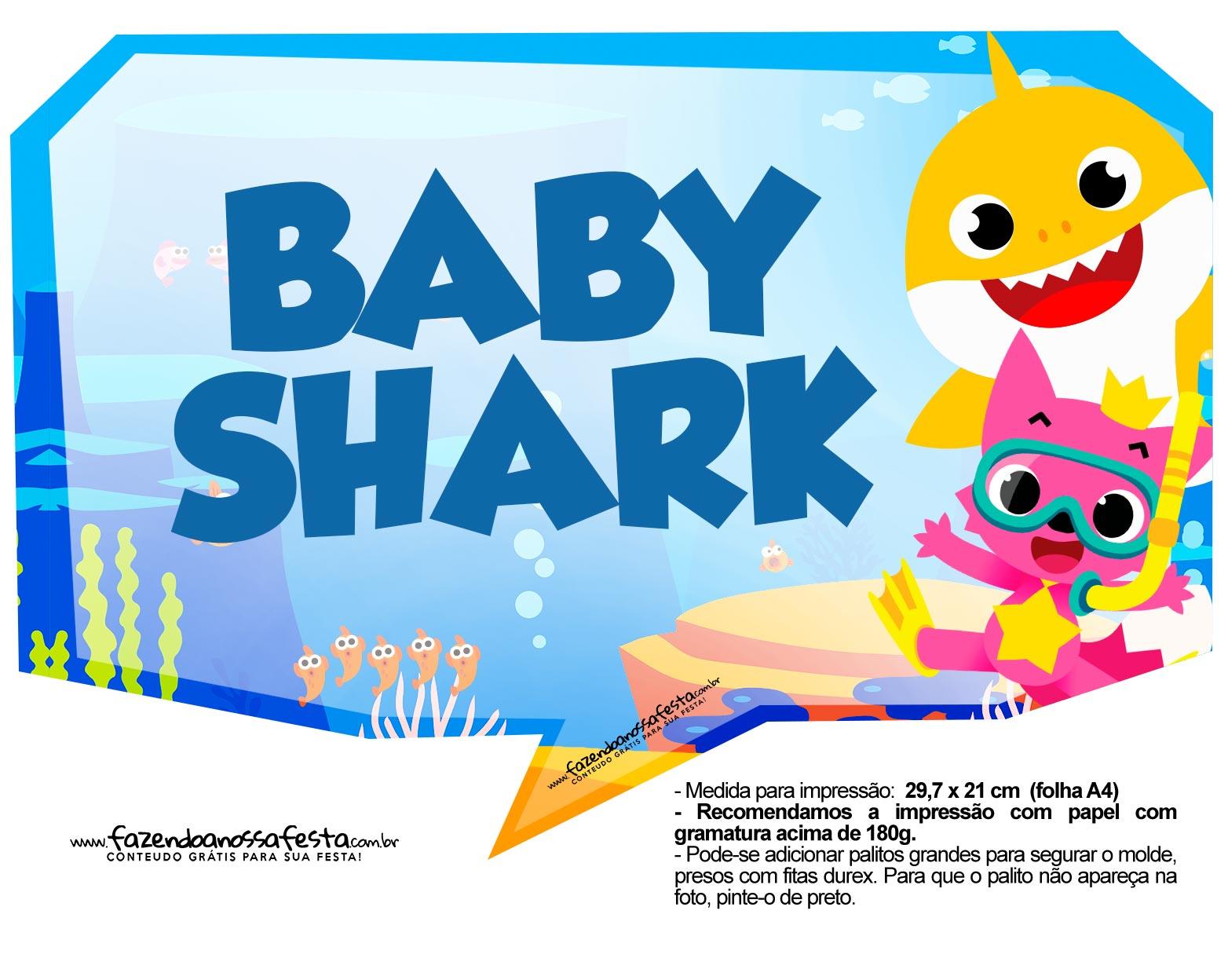 Plaquinhas para Festa Baby Shark 9