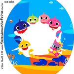 Rotulo Oval Baby Shark
