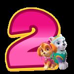 2 com personagem Alfabeto Patrulha Canina Rosa