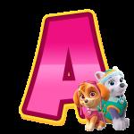 A com personagem Alfabeto Patrulha Canina Rosa