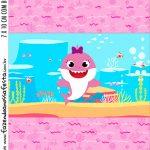 Adesivo Bala Personalizada Festa Baby Shark Rosa