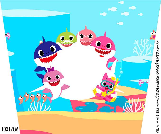 Adesivo Balde de Pipoca Festa Baby Shark Rosa