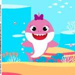 Adesivo Caixa Acrilica Festa Baby Shark Rosa