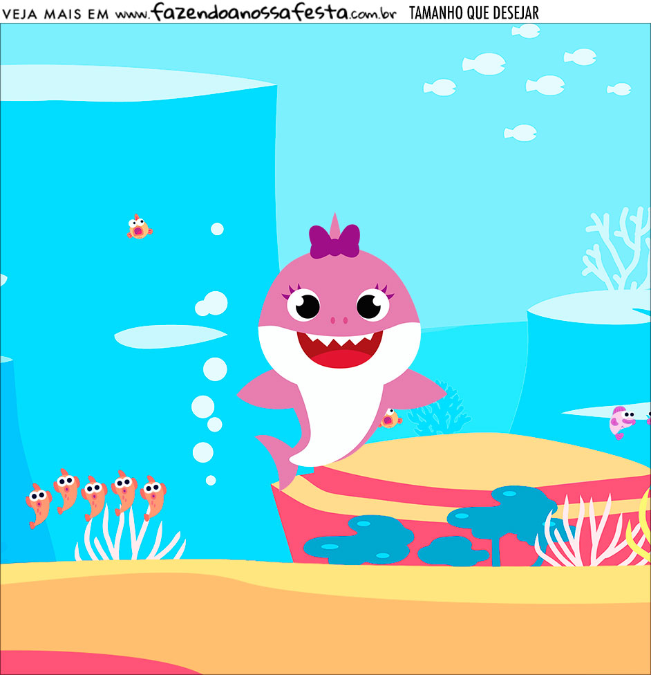 Adesivo Festa Baby Shark Rosa