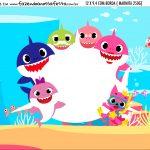 Adesivo Marmitinha Personalizada Festa Baby Shark Rosa