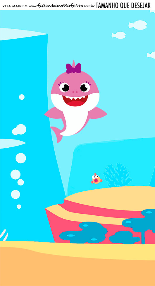 Adesivo Para Imprimir Festa Baby Shark Rosa
