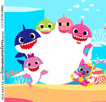 Adesivo Quadrado Festa Baby Shark Rosa