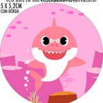 Adesivo copo de acrilico Festa Baby Shark Rosa