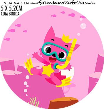 Adesivo ioio Festa Baby Shark Rosa