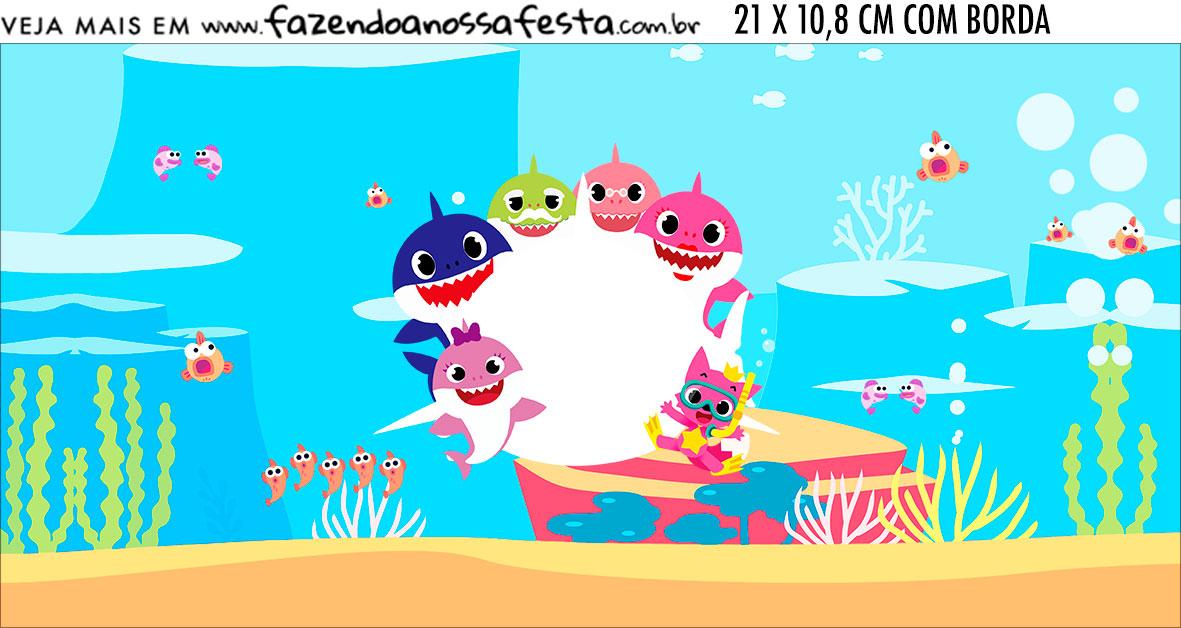 Adesivo para Cofrinho Festa Baby Shark Rosa
