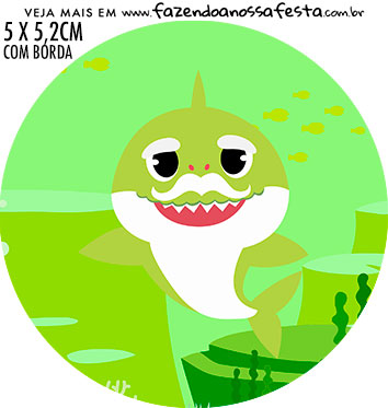 Adesivo para garrafinha Festa Baby Shark Rosa