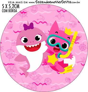 Adesivo para latinhas Festa Baby Shark Rosa