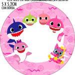 Adesivo para tubetes Festa Baby Shark Rosa