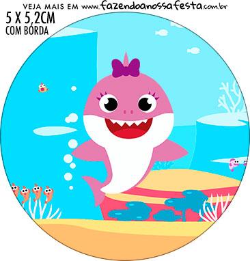 Adesivo redondo Festa Baby Shark Rosa