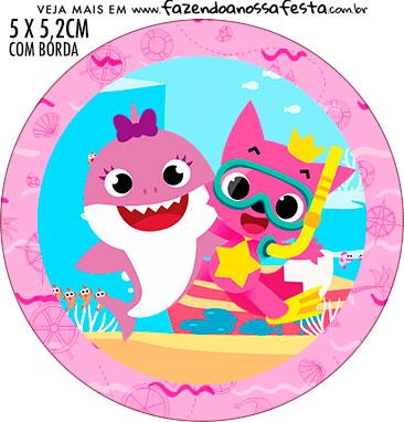 Adesivo redondo personalizado Festa Baby Shark Rosa