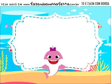 Aviso para Comida Festa Baby Shark Rosa