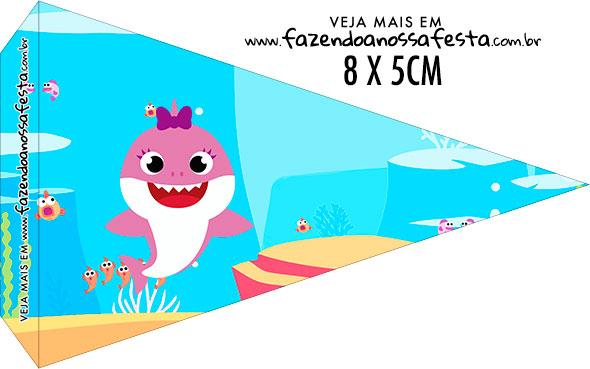 Bandeirinha Sanduiche para imprimir Festa Baby Shark Rosa