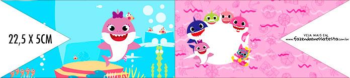 Bandeirinha de Dois Lados Festa Baby Shark Rosa