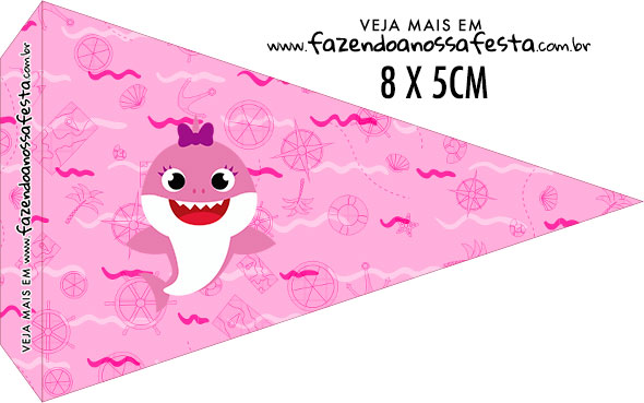 Bandeirinha para sanduiche Festa Baby Shark Rosa
