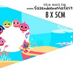 Bandeirinha sanduiche Festa Baby Shark Rosa