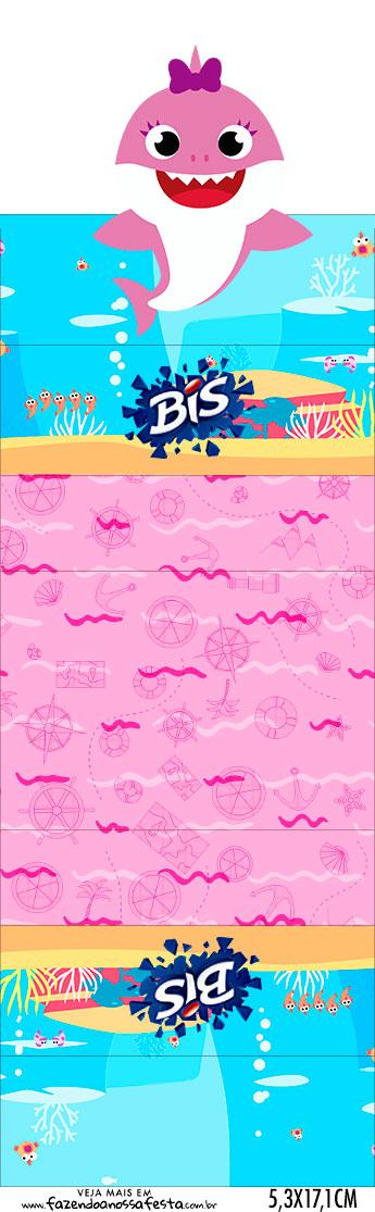 Bis duplo 3d Festa Baby Shark Rosa