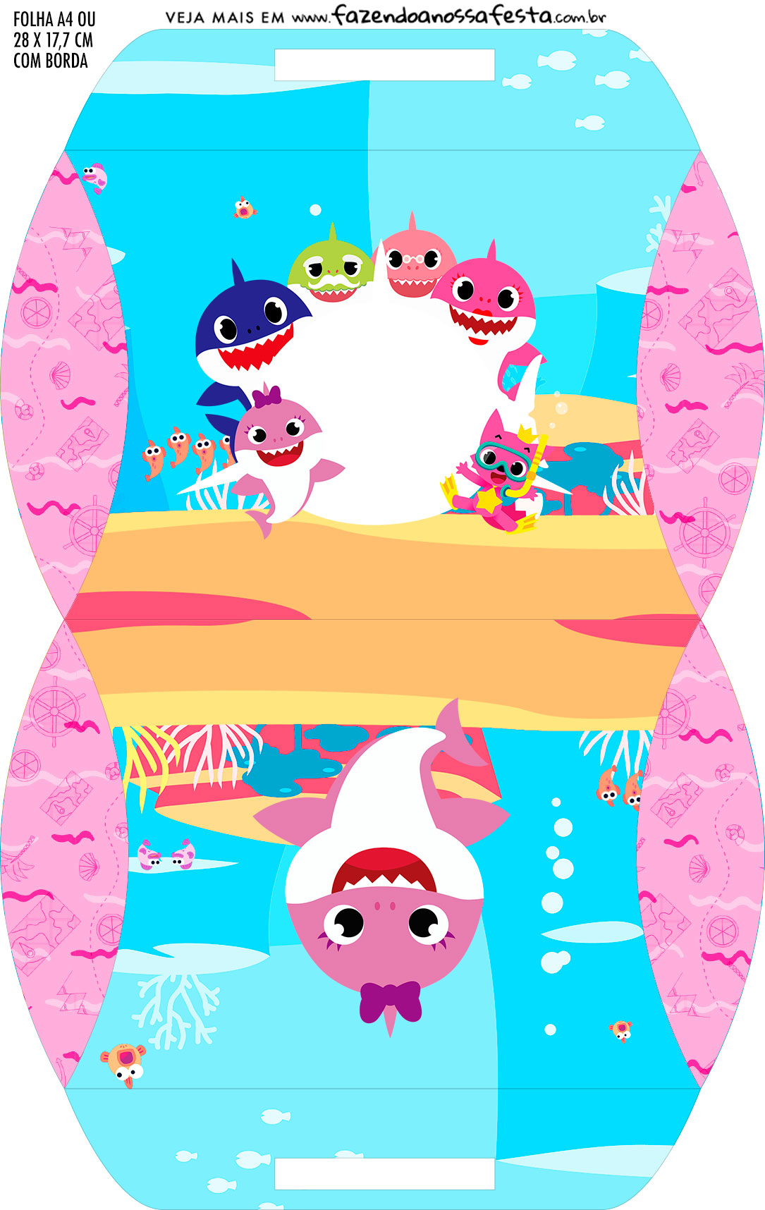Caixa Almofada bolsinha Kit Festa Baby Shark Rosa