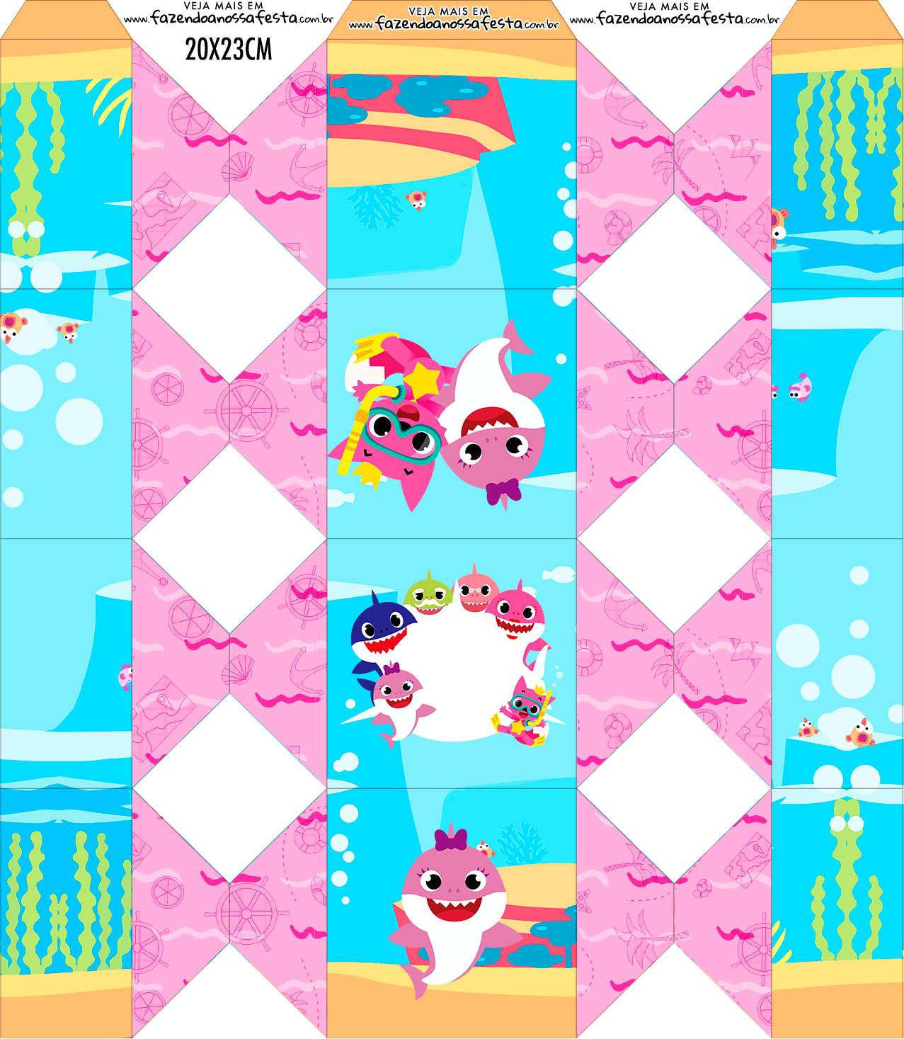 Caixa Bala Kit Festa Baby Shark Rosa