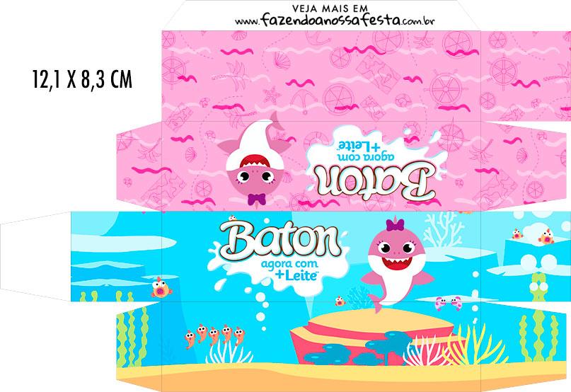 Caixa Baton Festa Baby Shark Rosa