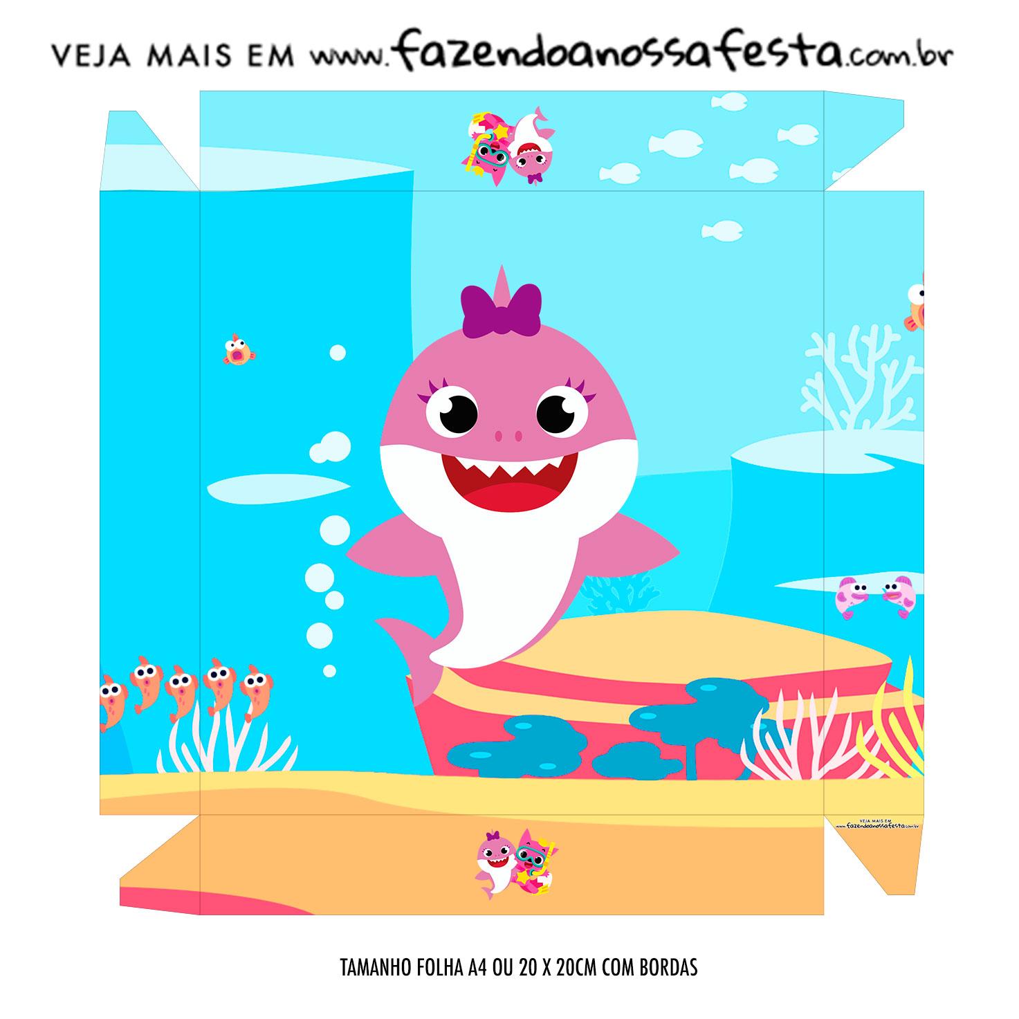 Caixa Bombom Tampa Kit Festa Baby Shark Rosa