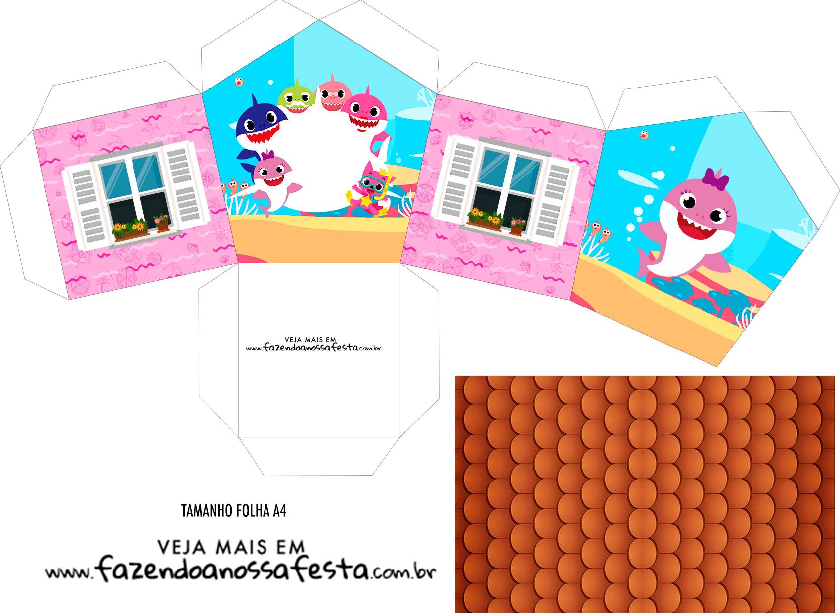 Caixa Casinha Kit Festa Baby Shark Rosa