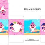 Caixa Cubo Festa Baby Shark Rosa