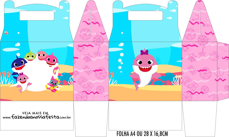 Caixa Maleta Surpresa Festa Baby Shark Rosa