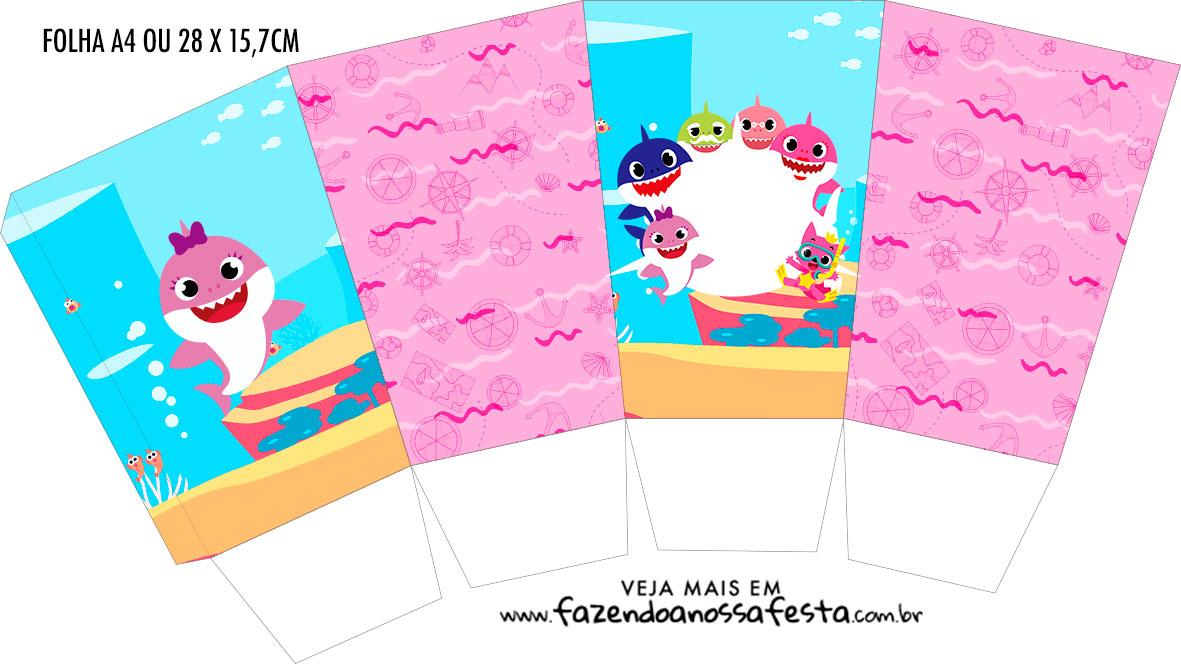 Caixa Pipoca Festa Baby Shark Rosa