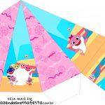 Caixa Piramide Festa Baby Shark Rosa