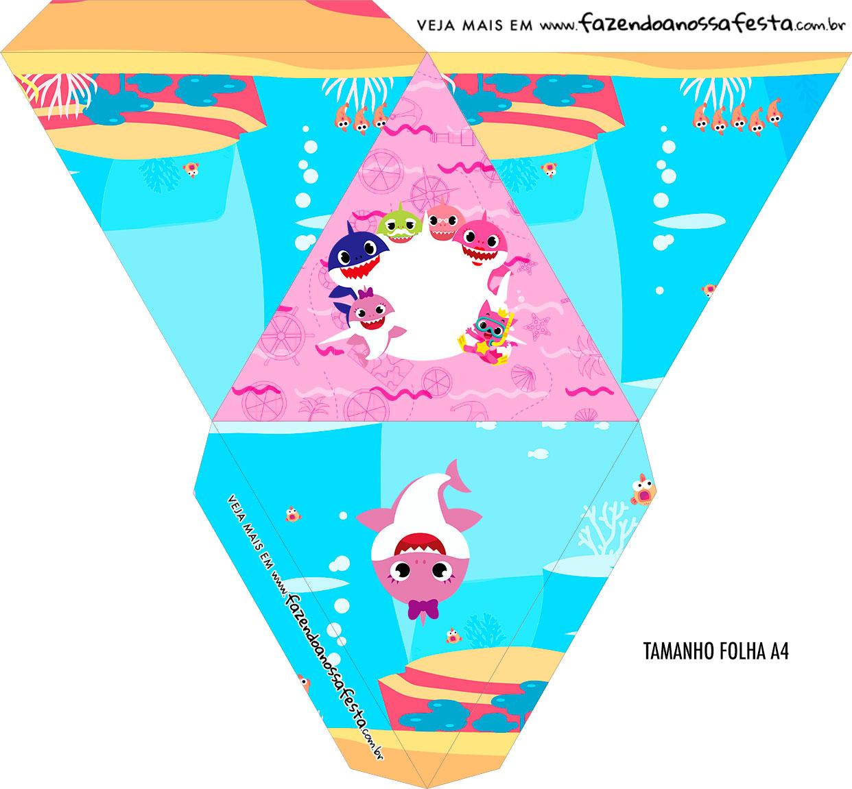 Caixa Piramide Personalizada Festa Baby Shark Rosa