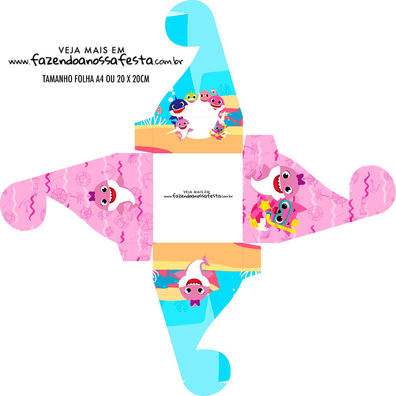 Caixa bombom personalizada Festa Baby Shark Rosa