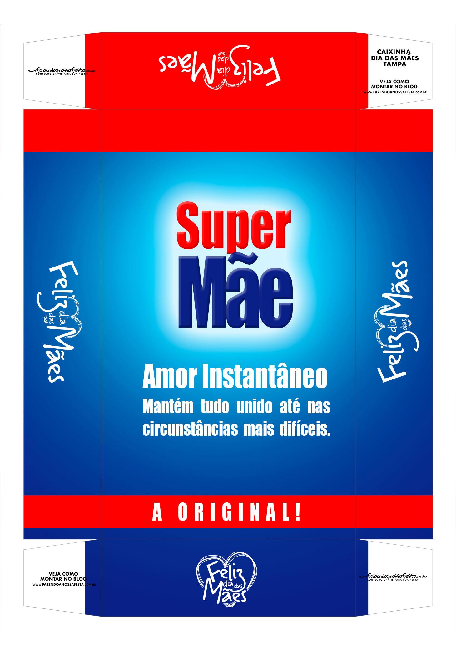 Caixa personalizada Super Mae tampa