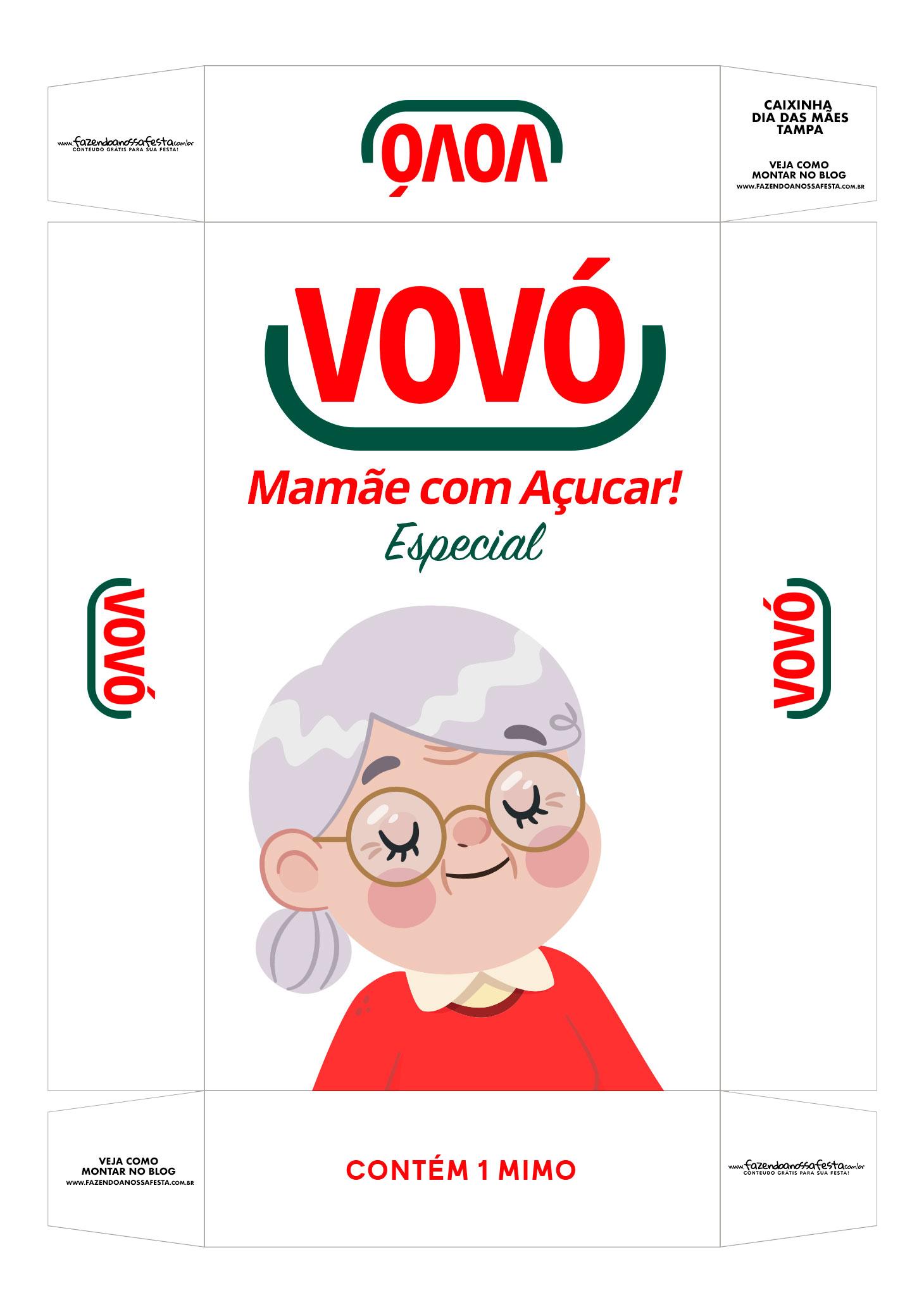 Caixa personalizada Vovo Mamae com Acucar tampa