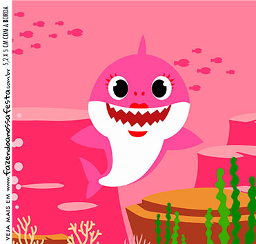Caixinha Acrilico Festa Baby Shark Rosa