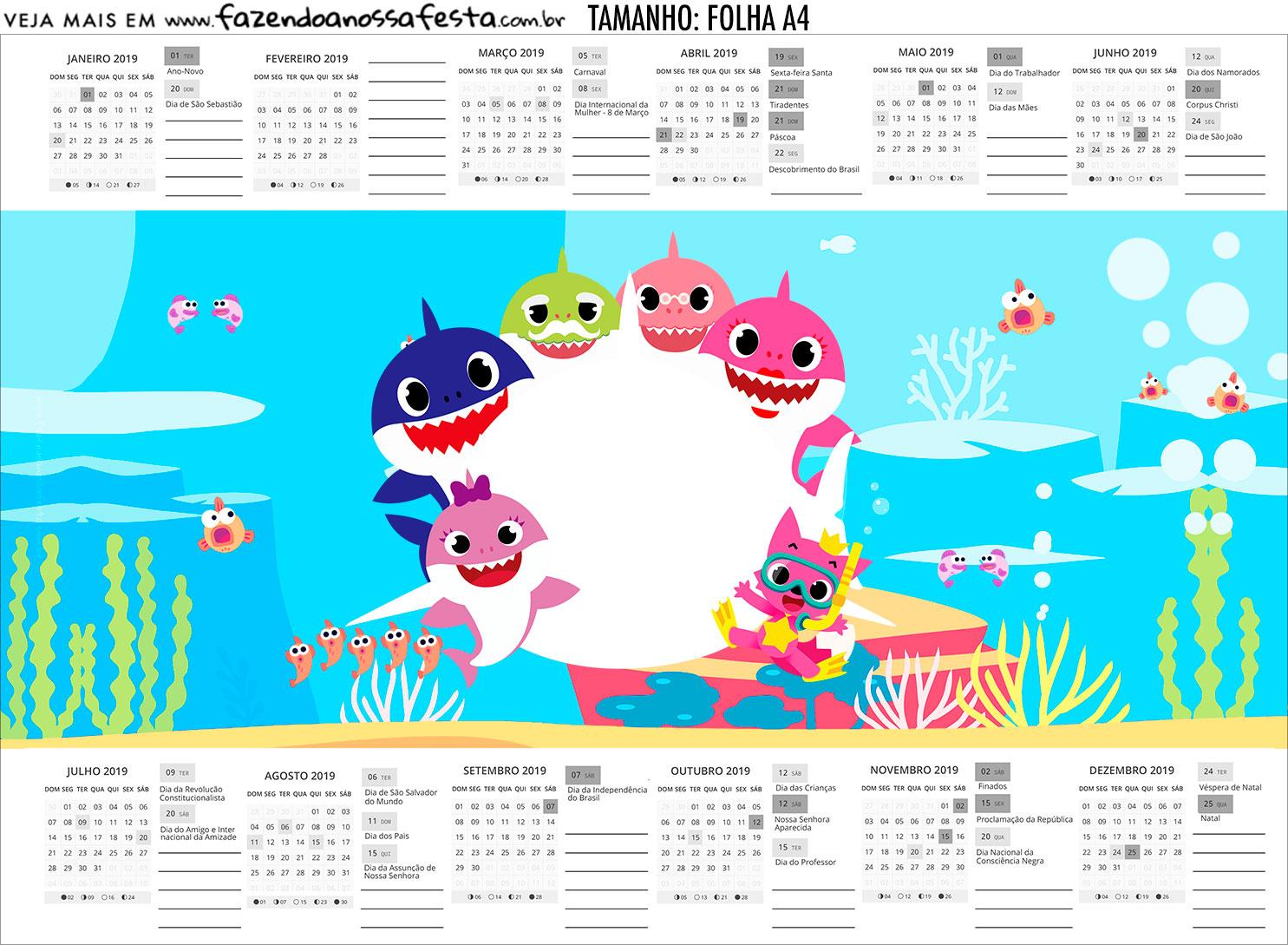 Calendario Personalizado 2019 Festa Baby Shark Rosa