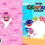 Capa Livrinho para Colorir Festa Baby Shark Rosa