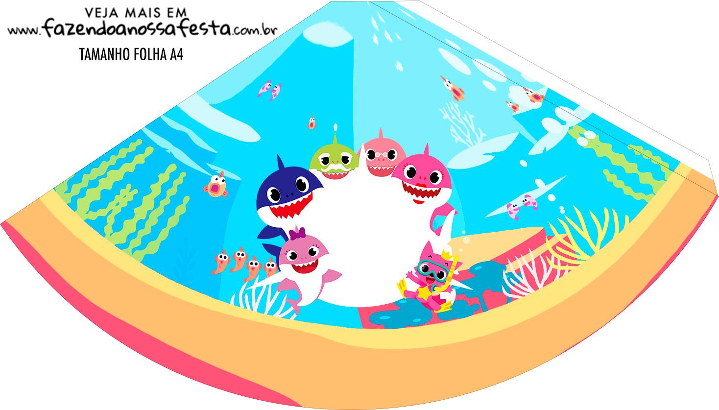 Chapeu de Festa Personalizado Festa Baby Shark Rosa