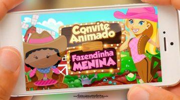 Convite Animado Fazendinha Menina Afro