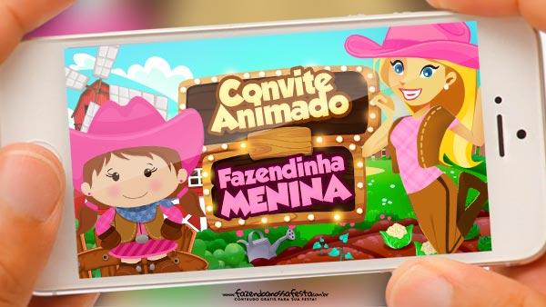Convite Animado Fazendinha Menina