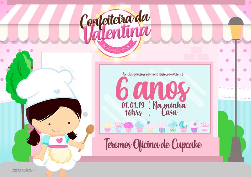 Convite Confeitaria Preenchido Modelo 1