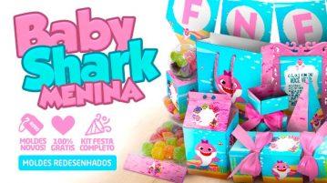 Kit Festa Baby Shark Rosa