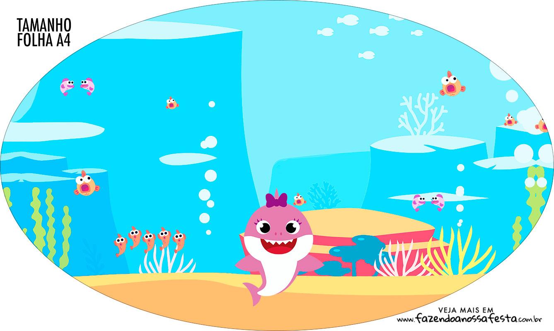 Placa Elipse Festa Baby Shark Rosa