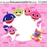 Plaquinha de Comida Festa Baby Shark Rosa