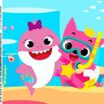 Rotulo Caixa Acrilica Kit Festa Baby Shark Rosa