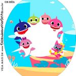 Rotulo Oval Kit Festa Baby Shark Rosa